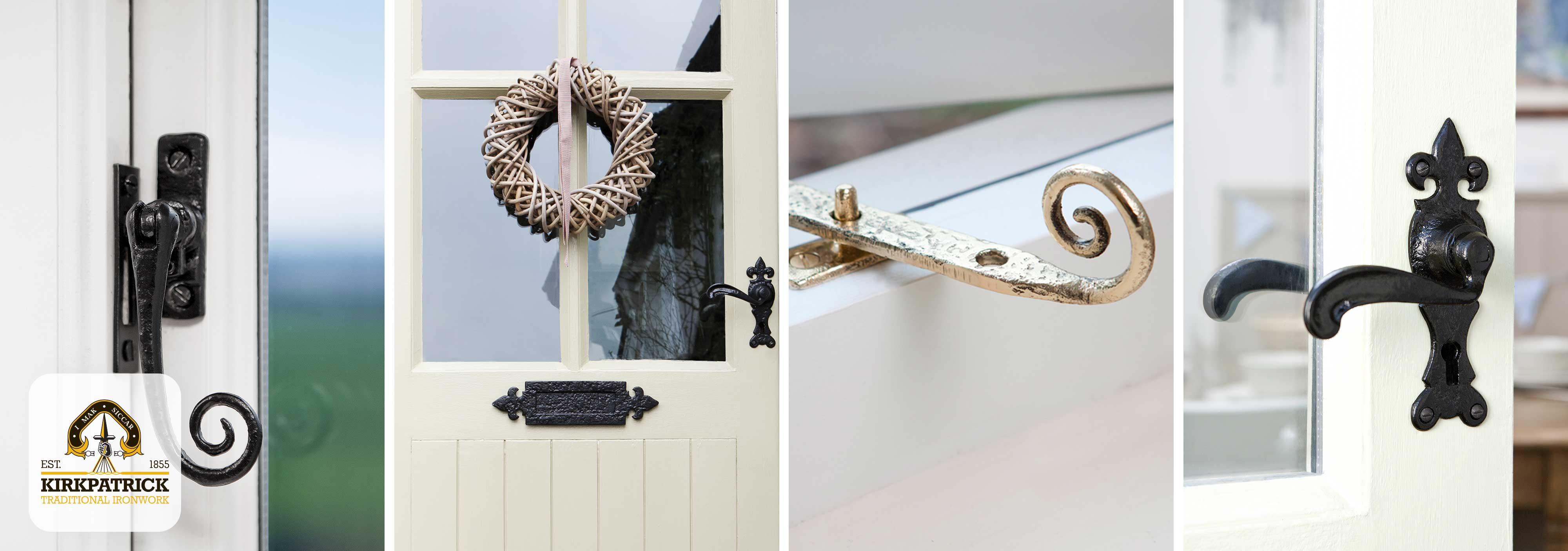 Het uitgebreide pakket van Kirkpatrick bevat deurbeslag, raambeslag, meubelbeslag en overige woonaccessoires