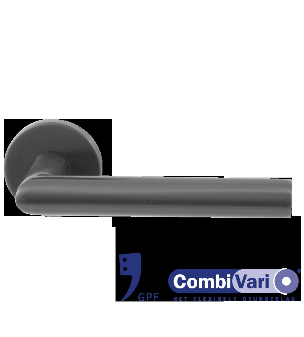 GPF Combivari deurkruk op rozet PVD antraciet